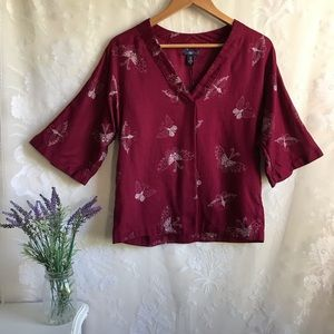 GAP Maroon Red Butterfly Blouse Top 3/4 Sleeve XS